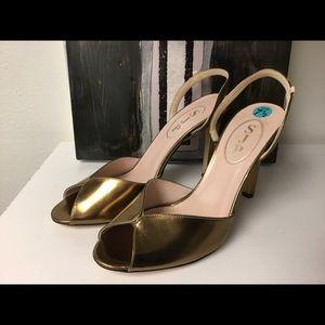 SJP by Sarah Jessica Parker Shoes - SJP gold peep toe sling back sandals size 7.5